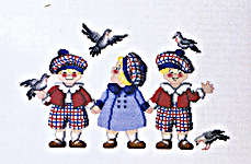 Click for more details of Triplets with Pigeons (cross stitch) by Royal Paris