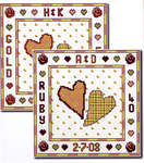 Click for more details of Two Hearts - Gold / Ruby (cross-stitch pattern) by Cinnamon Cat