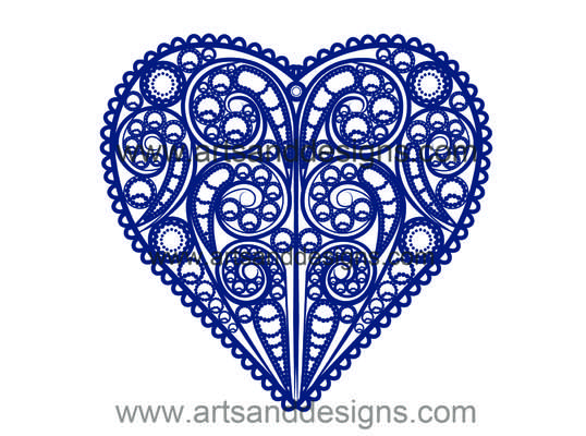 Click for more details of Valentines Filligree Heart in China Blue (digital downloads) by Julie Lynes