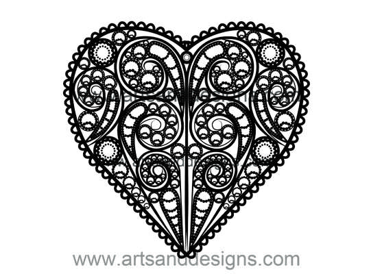 Click for more details of Valentines Filligree Heart in Midnight Black (digital downloads) by Julie Lynes