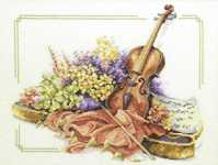 Click for more details of Violin with Flowers (cross-stitch kit) by Lanarte