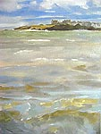 Click for more details of waves at Elie (oil on canvas) by Yvonne Healy