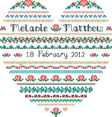Click for more details of Wedding Heart (cross-stitch pattern) by Designs by Cathy