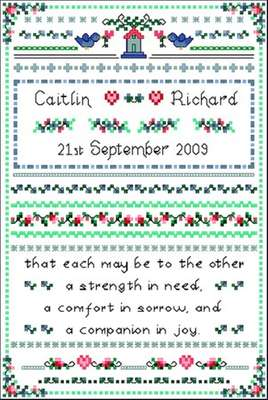 Click for more details of Wedding Sampler (cross-stitch pattern) by Designs by Cathy