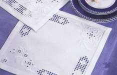 Click for more details of White Flowers on White Hardanger Table Mat (hardanger kit) by Permin of Copenhagen