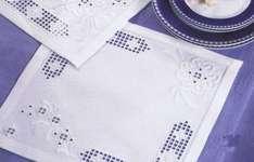 Click for more details of White Flowers on White Hardanger Table Mat (hardanger kit) by Permin of Copenhagen