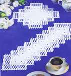 Click for more details of White Hardanger Table Mats with Lattice Border (hardanger) by Permin of Copenhagen