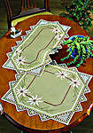 White Poinsettia Hardanger Table Mats - runner 28 by 58 cms
