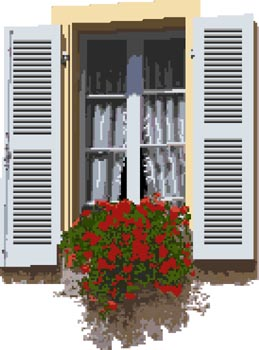 Click for more details of Window in Brittany (cross stitch) by Anne Peden