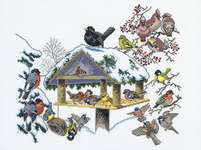 Click for more details of Winter Bird Table (cross stitch) by Eva Rosenstand