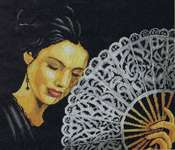 Click for more details of Woman with Fan (cross-stitch kit) by Lanarte