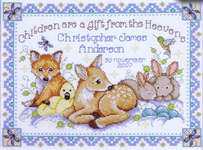 Click for more details of Woodland Baby Sampler (cross-stitch kit) by Design Works