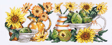 Click for more details of Yellow Flowers and Jugs (cross stitch) by Permin of Copenhagen
