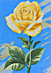 Click for more details of Yellow Rose on Blue (cross-stitch kit) by Lanarte