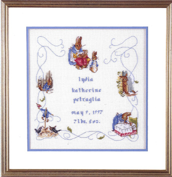Beatrix Potter Peter Rabbit Birth Sampler Cross Stitch