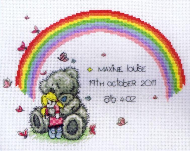 Tatty teddy rainbow birth sampler cross stitch kit by anchor