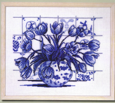 Blue Delft Tulips Cross Stitch Kit By Permin Of Copenhagen