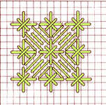 Satin stitch flower with double cross stitch - click to enlarge