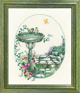 Oval garden bird bath - click for larger image