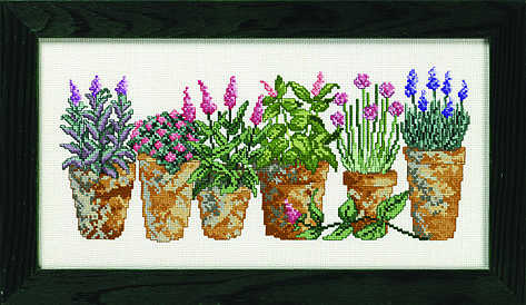 Six herb pots - click for larger image