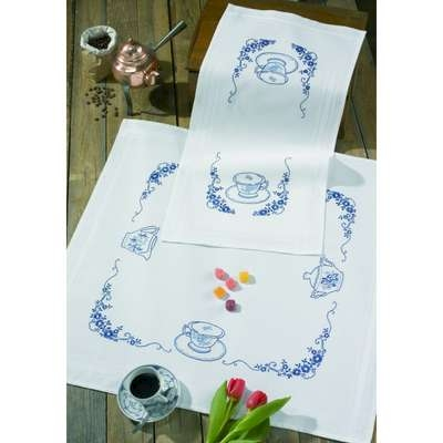 Coffee Printed Cotton Table Cover - click for larger image