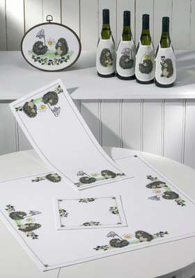 Hedgehogs and Pansies Table Mats - click for larger image