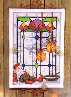 Elf in Stained Glass Window Advent Calendar - click for larger image