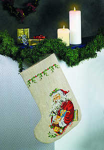 Santa and toys Christmas stocking - click for larger image
