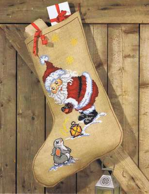 Santa and Rabbit Stocking - click for larger image