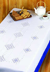 Hardanger squares tablecover - click for larger image