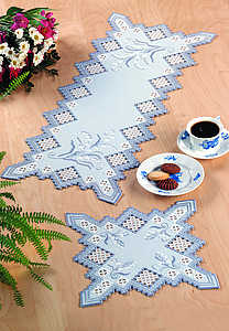Blue lily of the valley table runner - click for larger image
