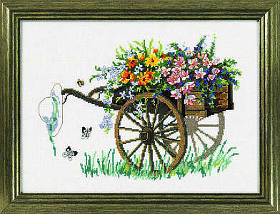 Flower cart and straw hat - click for larger image