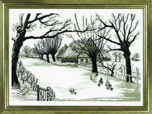 Black and white winter farm - click for larger image