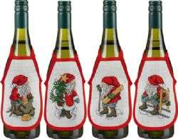 Santa Wine Bottle Aprons - click for larger image