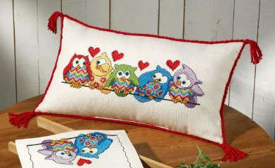Owls on a Branch Cushion - click for larger image