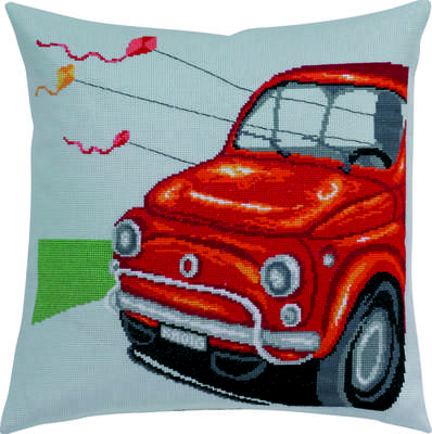 Red Vintage Car Cushion Cover - click for larger image