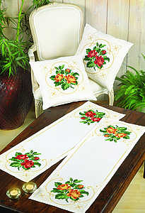 Peach roses cushion - click for larger image
