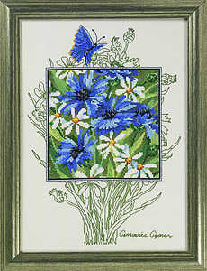 Cornflowers, daisies and butterflies - click for larger image