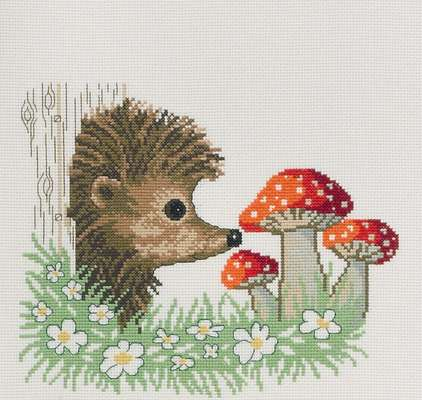 Hedgehog and Toadstools - click for larger image