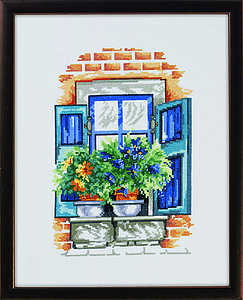 Blue flowers on window ledge - click for larger image