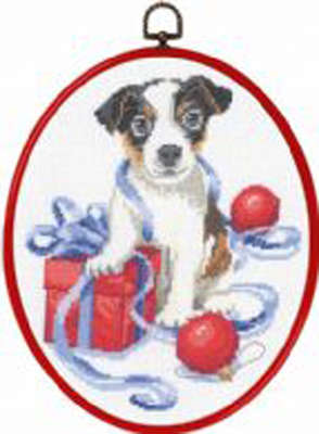 Puppy with Baubles and Christmas Gift - click for larger image