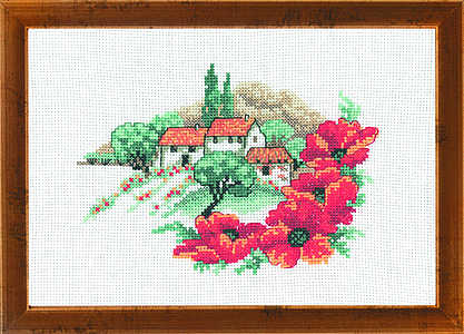 Farmhouse and poppies