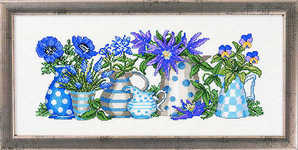Blue flowers in blue jugs - click for larger image