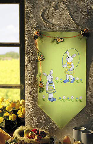 Girl Rabbits wall hanging