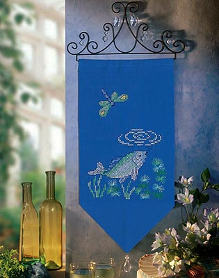 Blue fish wall hanging - Cross stitch