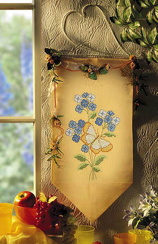 Blue flowers and butterfly wall hanging - Cross stitch