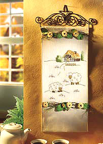 Sheep and Cottage wall hanging