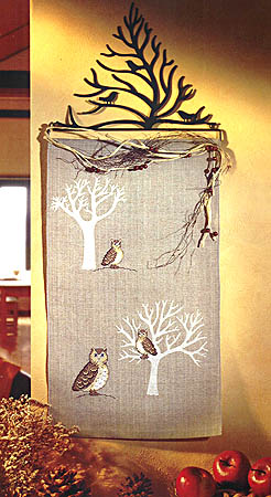 Owl and tree wall hanging - Cross stitch