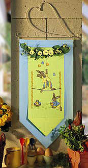 Rabbit on Tightrope wall hanging - Counted cross stitch