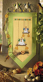 Chickens on swings wall hanging - Counted cross stitch